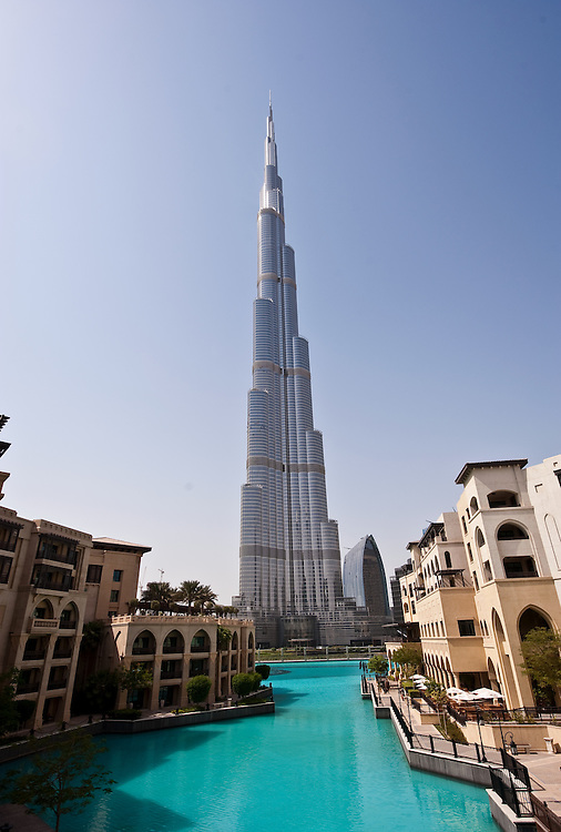 The Burj Khalifa, the world's tallest building as seen from the Palace Hotel in Dubai, United Arab Emirates.