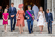 21-7-2019 BRUSSELS, BELGIUM: Prince Emmanuel, Princess Eleonore, Prince Gabriel, Crown Princess Elisabeth, Queen Mathilde of Belgium and King Philippe - Filip of Belgium pictured after the Te Deum mass, on the occasion of today's Belgian National Day, at the Saint Michael and St Gudula Cathedral (Cathedrale des Saints Michel et Gudule / Sint-Michiels- en Sint-Goedele kathedraal) COPYRIGHT ROBIN UTRECHT <br /> 21-7-2019 BRUSSEL, BELGIË: prins Emmanuel, prinses Eleonore, prins Gabriël, kroonprinses Elisabeth, koningin Mathilde van België en koning Philippe - Filip van België, afgebeeld na de Te Deum-mis, ter gelegenheid van de Belgische nationale feestdag, op de Sint-Michiels- en Sint-Goedelekathedraal (Cathedrale des Saints Michel et Gudule / Sint-Michiels- en Sint-Goedele kathedraal) COPYRIGHT ROBIN UTRECHT