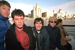 LIVERPOOL, ENGLAND - Liverpool band Space photographed on a Mersey Ferry in Liverpool. Franny Griffiths, Andy Parle, Tommy Scott, Jamie Murphy. (Pic by David Rawcliffe/Propaganda)