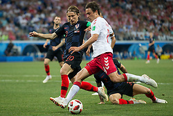 July 1, 2018 - Nizhny Novgorod, Russia - Luka Modric of Croatia vies Thomas Delaney of Denmark during the 2018 FIFA World Cup Russia Round of 16 match between Croatia and Denmark at Nizhny Novgorod Stadium on July 1, 2018 in Nizhny Novgorod, Russia. (Credit Image: © Foto Olimpik/NurPhoto via ZUMA Press)