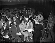 03/09/1958<br /> 09/03/1958<br /> 03 September 1958<br /> Opening of Gael Linn Drama Course at Damer Hall Dublin for Producers. image shows some of the attendees at the course listening to the instructor at the course.