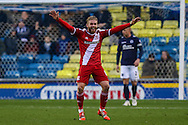 Adam Clayton of Middlesbrough  celebrates his team's second goal against Millwall to make it 0-2 during the Sky Bet Championship match at The Den, London<br /> Picture by David Horn/Focus Images Ltd +44 7545 970036<br /> 06/12/2014