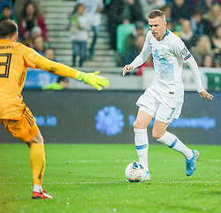 LJUBLJANA, SLOVENIA - NOVEMBER 16:  Josip Ilicic  of Slovenia in action against Pavels Steinbors of Latvia (L)  during the UEFA Euro 2020 Qualifier between Slovenia and Latvia on November 16, 2019 in Ljubljana, Slovenia.  Photo by Vid Ponikvar / Sportida