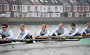 """LONDON, ENGLAND - Thursday  13/12/2012; Cambridge University Crew  """"Mash"""" ,  right to left, 2: Alex Ross, 3: Jack Lindeman, 4: Helge Gruetjen, 5: George Nash, 6: Grant Wilson and 7: Alexander Scharp, during the annual Varsity trial 8's for The BNY Melon University Boat Race over the Championship Course [Putney to Mortlake]. The River Thames, England. (Mandatory Credit/ Peter  Spurrier/Intersport Images]"""