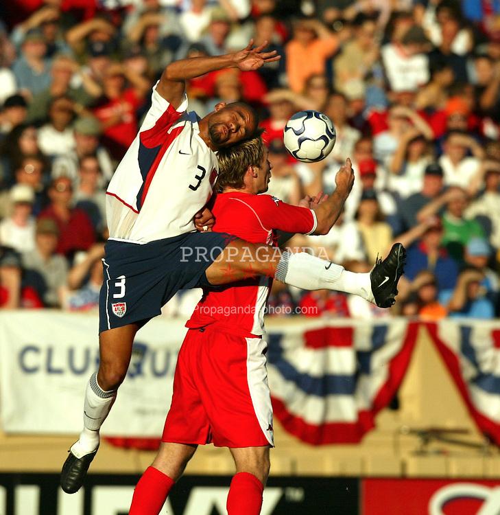 SAN JOSE, USA - Tuesday, May 27, 2003: Wales' Gareth Taylor and USA's C.J. Brown during the Friendly International match at the Spartan Stadium. (Pic by David Rawcliffe/Propaganda)