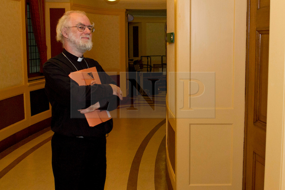 © Licensed to London News Pictures. FILE PICTURE 01/10/2011. London, UK. The Archbishop of Canterbury, Dr Rowan Williams seen preparing to give a speech in Church House, Westminster in October 2011. The Archbishop of Canterbury has announced today (16/03/12) that he will step down from his position at the end of the year to take on a role at Cambridge University. Photo credit : James Gourley/LNP