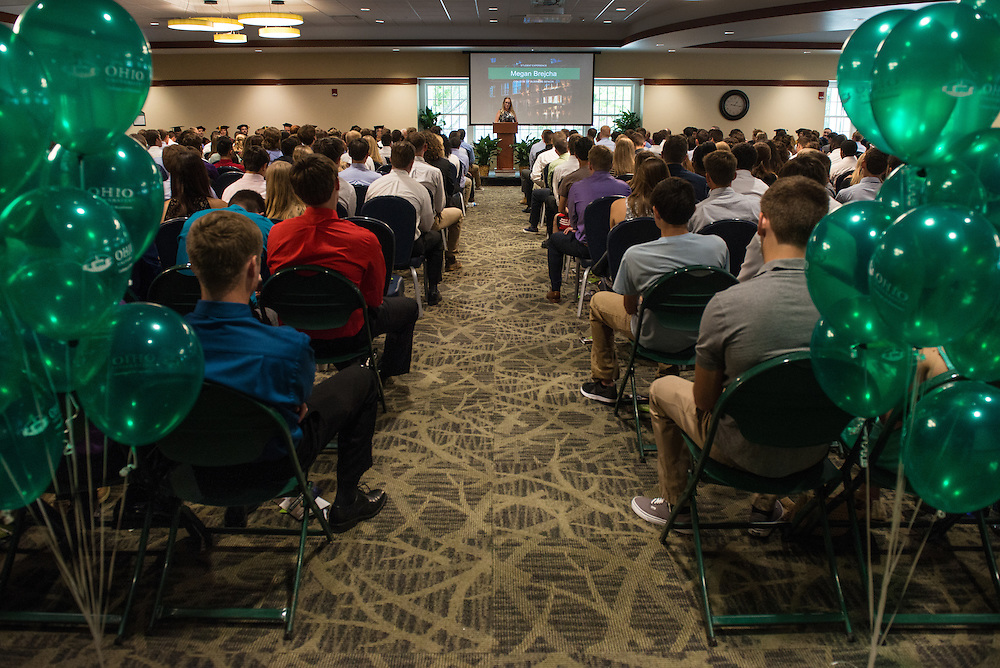 Megan Brejcha, Student Ambassador of Ohio University's College of Business, speaks during the Freshmen Convocation at Nelson Commons on August 20, 2016.