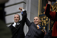 "Joe Alfano, 37, left, and Frank Capley, 33, of San Francisco, cheer as they leave City Hall with their marriage license, in San Francisco, CA, on Monday, June 16, 2008. ""We were married in 2004 until they took it away,"" said Alfano, in reference to the mayor Gavin Newsom's first attempt to legalize same-sex marriage. The couple will marry at City Hall, Tuesday."