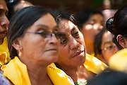 Catholic Guatemalan pilgrims await their turn in 92 degree heat to enter the rectory home of Archbishop Oscar Romero. El Salvador prepares for the beatification ceremony and mass announcing the beatification of Archbishop Oscar Romero. The Archbishop was slain at the alter of his Church of the Divine Providence by a right wing gunman in 1980. Oscar Arnulfo Romero y Galdamez became the fourth Archbishop of San Salvador, succeeding Luis Chavez, and spoke out against poverty, social injustice, assassinations and torture. Romero was assassinated while offering Mass on March 24, 1980.