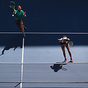 2017 U.S. Open Tennis Tournament - DAY THIRTEEN. Hao-Ching Chan of Chinese Taipei and Michael Venus of New Zealand in action while losing against Martina Hingis of Switzerland and Jamie Murray of Great Britain in the Mixed Doubles Final at the US Open Tennis Tournament at the USTA Billie Jean King National Tennis Center on September 09, 2017 in Flushing, Queens, New York City.  (Photo by Tim Clayton/Corbis via Getty Images)