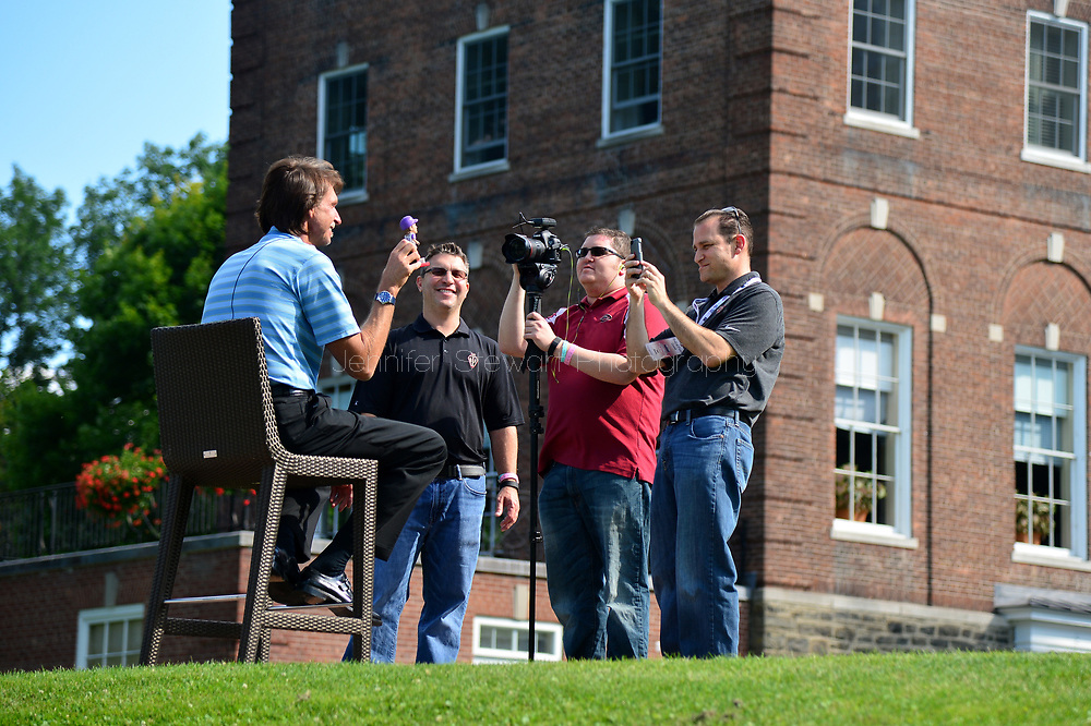 COOPERSTOWN, NY July 24: D-backs Randy Johnson films with Rob Weisenheimer, Jeff Cederbaum and Josh Rawitch at The Otesaga Resort Hotel in Cooperstown, NY. (Photo by Jennifer Stewart/Arizona Diamondbacks)