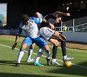 16th September 2017, Dens Park, Dundee, Scotland; Scottish Premier League football, Dundee versus St Johnstone; Dundee's Sofien Moussa battles for the ball with St Johnstone's Richard Foster
