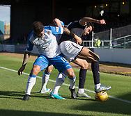 16th September 2017, Dens Park, Dundee, Scotland; Scottish Premier League football, Dundee versus St Johnstone; Dundee's Sofien Moussa battles for the ball with St Johnstone's Richard Foster