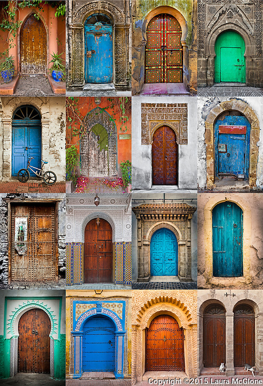 Moroccan Doors Collage 16 pictures