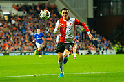 Steven Berghuuis (#10) of Feyenoord Rotterdam chases a through ball during the Europa League match between Rangers FC and Feyenoord Rotterdam at Ibrox Stadium, Glasgow, Scotland on 19 September 2019.