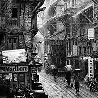 A torrential monsoon rain in Bhaktapur