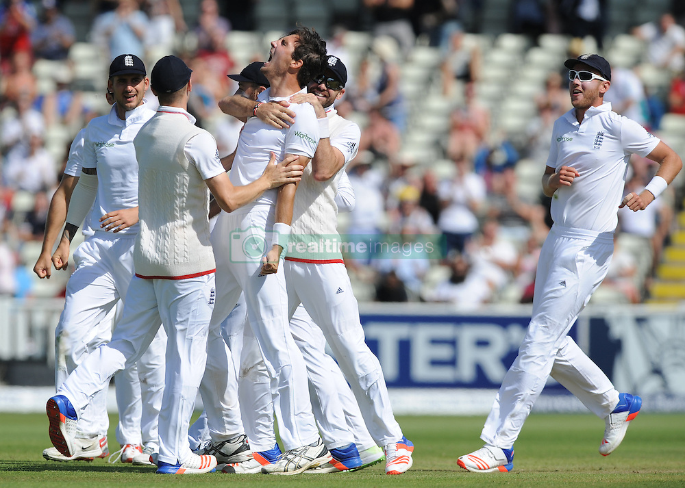England's Steven Finn celebrates after bowling Pakistan captain Misbah-ul-Hag, caught by England's Jonny Bairstow during day five of the 3rd Investec Test Match at Edgbaston, Birmingham.
