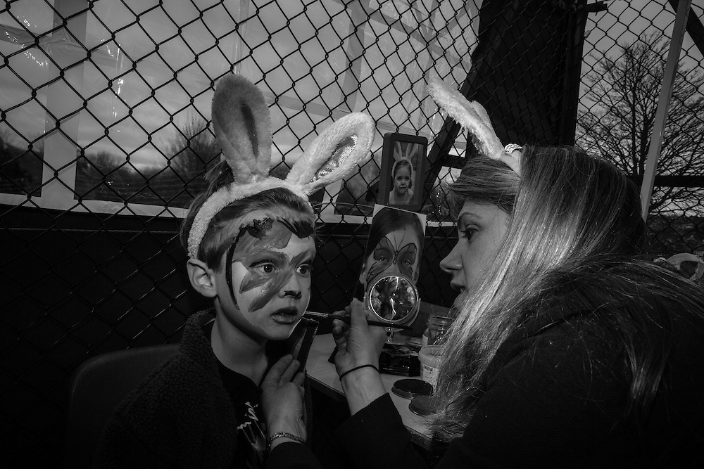 Ben opts for Ziggy Stardust make up at the face painting booth during the Bunny Hop Easter school fair in Berkhamsted, England Saturday, March 19, 2016 (Elizabeth Dalziel) #thesecretlifeofmothers #bringinguptheboys #dailylife
