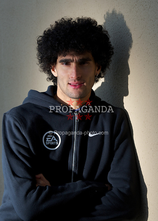 LIVERPOOL, ENGLAND - Tuesday, December 13, 2011: Everton's Marouane Fellaini photographed during an EA Sports FIFA 2012 event at the club's Finch Farm training complex. (Pic by David Rawcliffe/Propaganda)