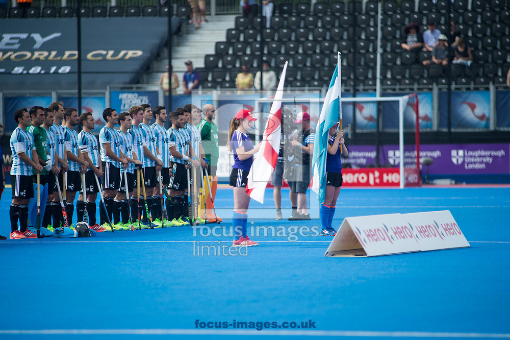 Argentina during their National Anthem on day four of the Men's Hero Hockey World League Semi-Finals at Lee Valley Hockey Centre, Stratford<br /> Picture by Hannah Fountain/Focus Images Ltd 07814482222<br /> 18/06/2017