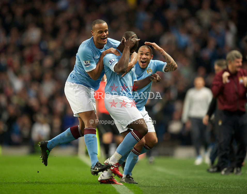 MANCHESTER, ENGLAND - Sunday, March 13, 2011: Manchester City's Micah Richards celebrates scoring the first goal against Reading during the FA Cup 6th Round match at the City of Manchester Stadium. (Photo by David Rawcliffe/Propaganda)