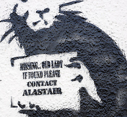 """© Licensed to London News Pictures. 31/10/2015. Folkestone, UK. A new artwork by the artist BANKSY, next to the location of a BANKSY piece that was removed. The Artwork pokes fun at the removal of the last piece which was called """"Art Buff"""", which was of an old lady, and says """"IF FOUND PLEASE CONTACT ALASTAIR. Alastair Upton is the Chief Executive of the Creative Foundation who as called for the picture to be returned to the town. Photo credit:Grant Falvey/LNP"""