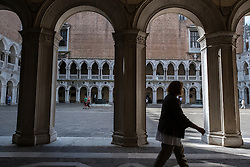 The courtyard of the Doge's Palace, San Marco, Venice, Italy.<br />