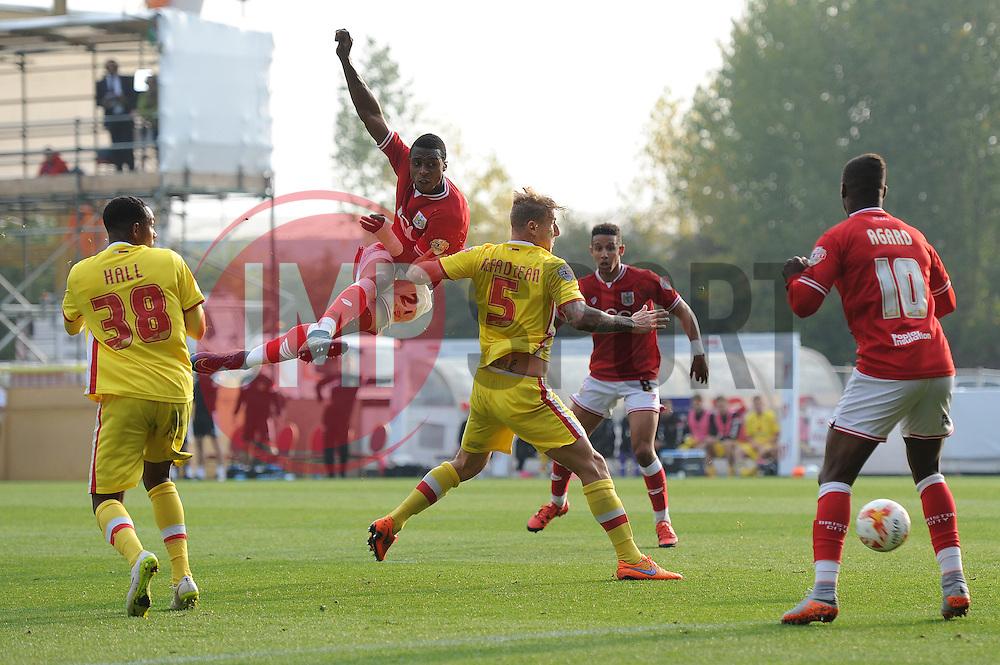 Jonathan Kodjia of Bristol City takes a shot at goal - Mandatory byline: Dougie Allward/JMP - 07966 386802 - 03/10/2015 - FOOTBALL - Ashton Gate - Bristol, England - Bristol City v MK Dons - Sky Bet Championship