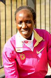 Edna Kiplagat during the photocall for the 2014 London Marathon Elite Runners Race Winners, Tower Hotel, London, United Kingdom. Monday, 14th April 2014. Picture by Chris Joseph / i-Images