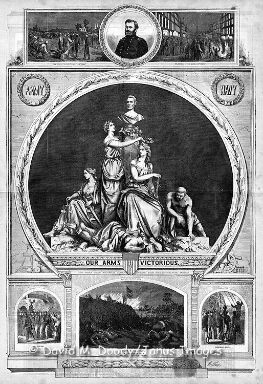 "Final victory for the Union in the Civil War 1865 ""Our Arms Victorious"" by Thomas Nast Harper's Weekly, Saturday June 24, 1865."