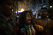 Jan. 24, 2016 - Kuala Lumpur, Batu Caves, Malaysia - <br /> <br /> Thaipusam Festival in Kuala Lumpur<br /> <br /> Hindus devotees possessed by the god reacts in a state of trance as she's heading to the Batu caves. To mark this day, Hindus devotees pierce different part of their body with various metal skewers and carry pots of milk on their heads along couple of kilometers to celebrate the honor of Lord Subramaniam (Lord Murugan) in the Batu Caves, one of the most popular shrine outside India and the focal point to celebrate the Thaipusam Festival in Malaysia..Thaipusam is an annual Hindu festival, observed on the day of the full moon during the Tamil month of Thai, it is also a public holiday for many people.<br /> &copy;Exclusivepix Media