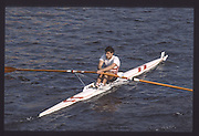 London. United Kingdom. Mark BUCKINGHAM, 1990 Scullers Head of the River Race. River Thames, viewpoint Chiswick Bridge Saturday 07.04.1990<br /> <br /> [Mandatory Credit; Peter SPURRIER/Intersport Images] 19900407 Scullers Head, London Engl