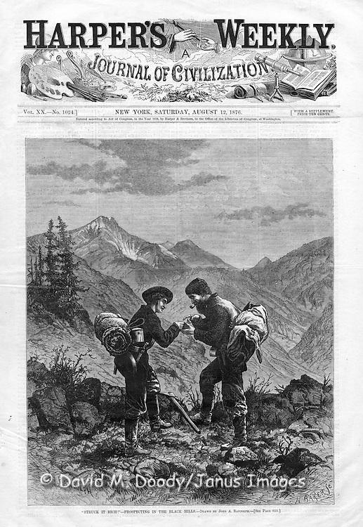 """""""Struck It Rich!"""" Vintage Illustration form Harper's Weekly 1876 Gold prospectors in the Black Hills of South Dakota."""