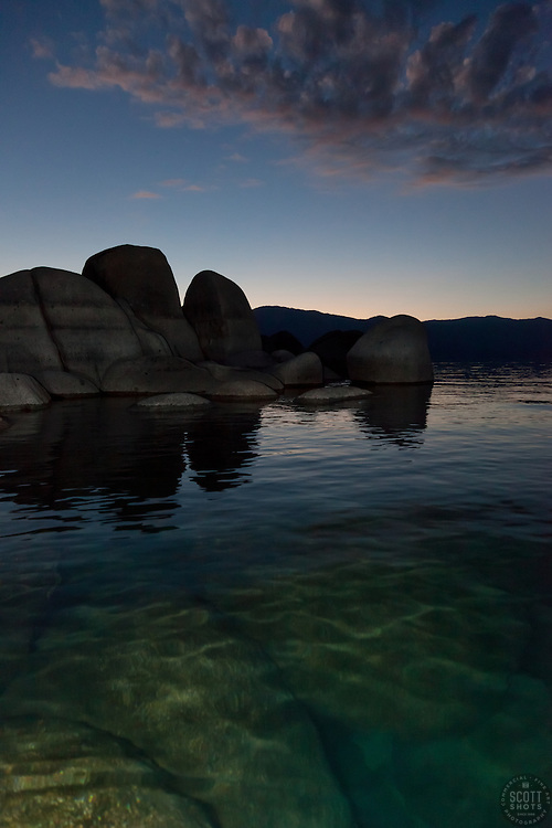 """Tahoe Boulders at Sunrise 1"" - These boulders were photographed at sunrise near Speedboat Beach, Lake Tahoe."