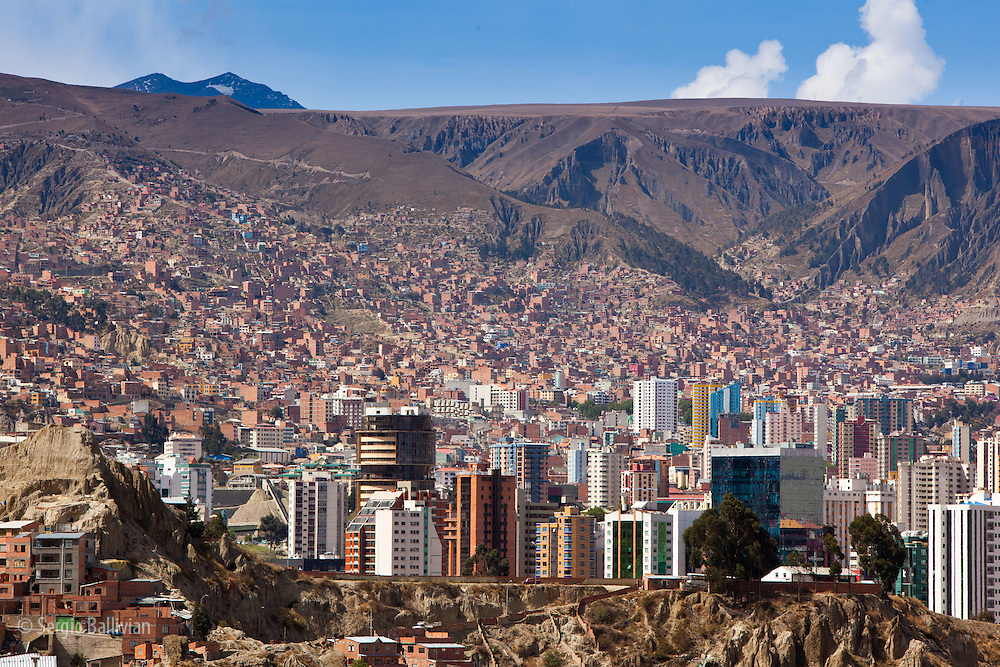 The deep canyons and modern urban sprawl of La Paz, Bolivia.