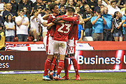 Joe Lolley (23) of Nottingham Forest scores a goal and celebrates during the EFL Cup match between Nottingham Forest and Derby County at the City Ground, Nottingham, England on 27 August 2019.