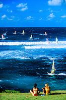 Windsurfing at Ho'okipa Beach, near Pa'ia, Maui, Hawaii USA