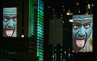 Feature SkyArena Frankfurt a. M.          Zur Feier der Fussball-Weltmeisterschaft werden in Frankfurt am Main nachts ueberdimensionale Fotos der vergangenen Fussball-Weltmeisterschaften auf die Skyline der Stadt projeziert, untermalt mit Musik und Lichteffekten.