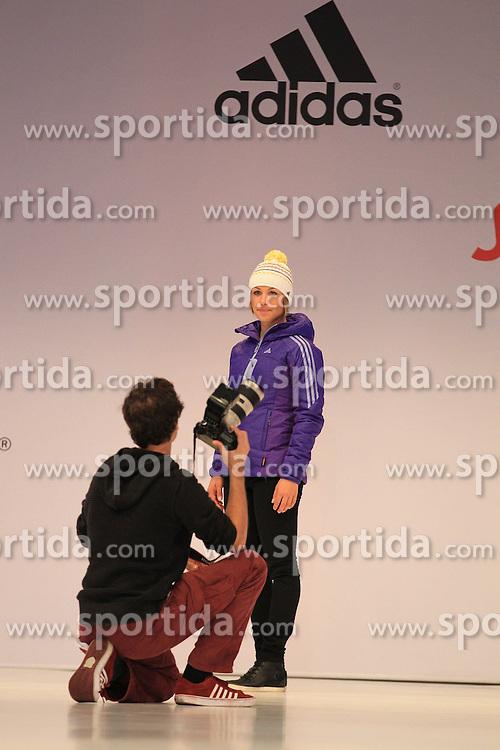 01.10.2013, Messe, Duesseldorf, GER, Einkleidung Olympiamannschaft Sochi 2014, im Bild Magdalena Neuner beim Shooting fuer ihre selbst gestrickte Adidas Muetze fuer das Olympia Team, // during the Presentation of the Olympic Team Germany for Sochi 2014 at the Messe, Duesseldorf, Germany on 2013/10/01. EXPA Pictures &copy; 2013, PhotoCredit: EXPA/ Eibner/ Joerg Schueler<br /> <br /> ***** ATTENTION - OUT OF GER *****