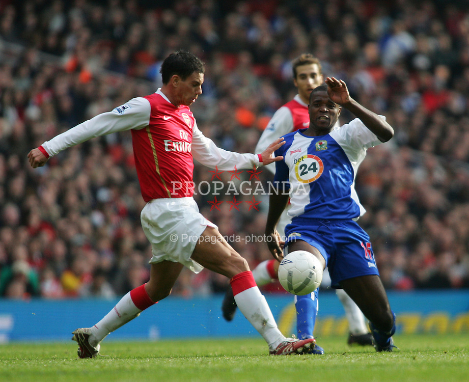 London, England - Saturday, February 17, 2007: Arsenal's Jeremie Aliadiere and Blackburn Rovers' Aaron Mokoena during the FA Cup 5th round match at the Emirates Stadium. (Pic by Chris Ratcliffe/Propaganda)