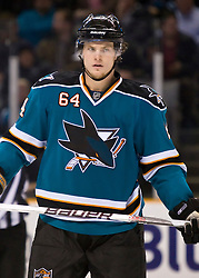 January 6, 2010; San Jose, CA, USA; San Jose Sharks left wing Jamie McGinn (64) during the third period against the St. Louis Blues at HP Pavilion.  San Jose defeated St. Louis 2-1 in overtime. Mandatory Credit: Jason O. Watson / US PRESSWIRE