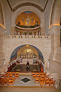 Interior of the Franciscan church of the Transfiguration, mount Tabor, Jezreel Valley, Galilee, Israel (architect Antonio Barluzzi 1924)