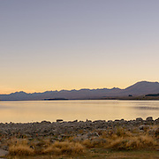 Panoramic view of Lake Tekapo at dawn