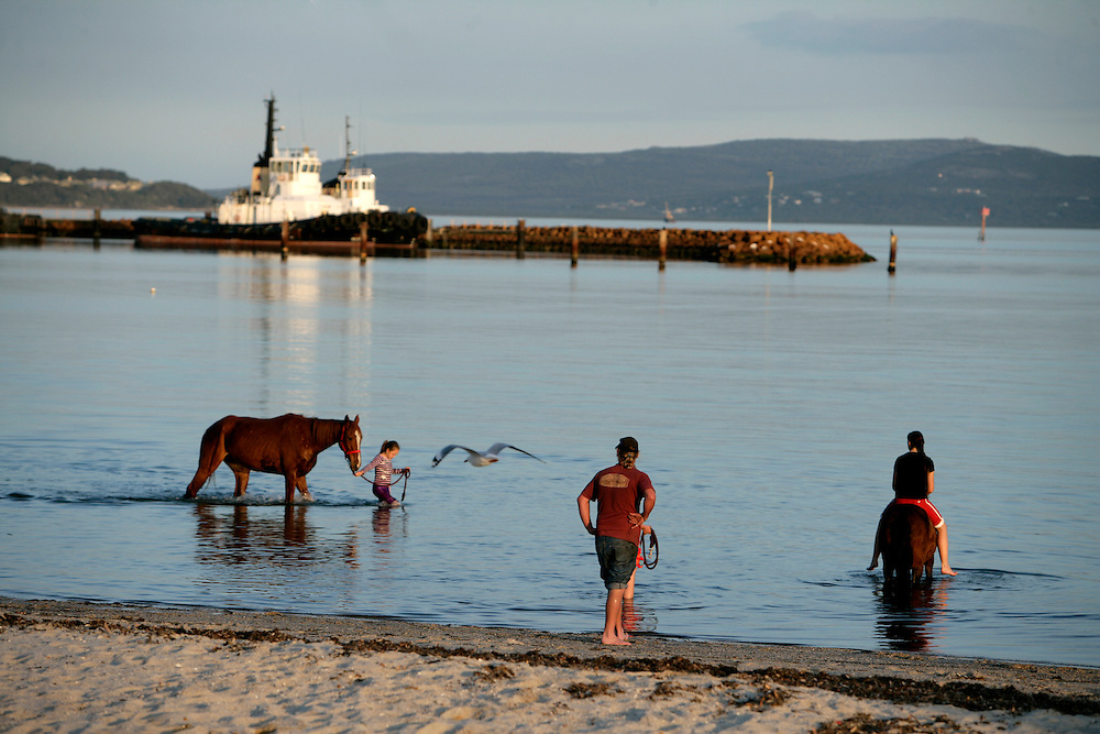 Girls riding horses inside water in Albany.