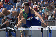 Jul 27, 2019; Des Moines, IA, USA; Devon Allen places second in 110m hurdles heat in 13.52 to advance  during the USATF Championships at Drake Stadium.