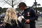 Nathan Ake (5) of AFC Bournemouth signing autographs on arrival before the Premier League match between Bournemouth and Tottenham Hotspur at the Vitality Stadium, Bournemouth, England on 11 March 2018. Picture by Graham Hunt.