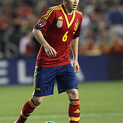 Andres Iniesta, Spain, in action during the Spain V Ireland International Friendly football match at Yankee Stadium, The Bronx, New York. USA. 11th June 2013. Photo Tim Clayton