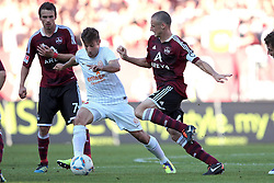 01.10.2011, easy Credit Stadion, Nuernberg, GER, 1.FBL, 1. FC Nürnberg / Nuernberg vs 1. FSV Mainz, im Bild:.Marco Caligiuri (Mainz #6) gg Timmy Simons (Nuernberg #2).// during the Match GER, 1.FBL, 1. FC Nürnberg / Nuernberg vs 1. FSV Mainz on 2011/10/01, easy Credit Stadion, Nuernberg, Germany..EXPA Pictures © 2011, PhotoCredit: EXPA/ nph/  Will       ****** out of GER / CRO  / BEL ******