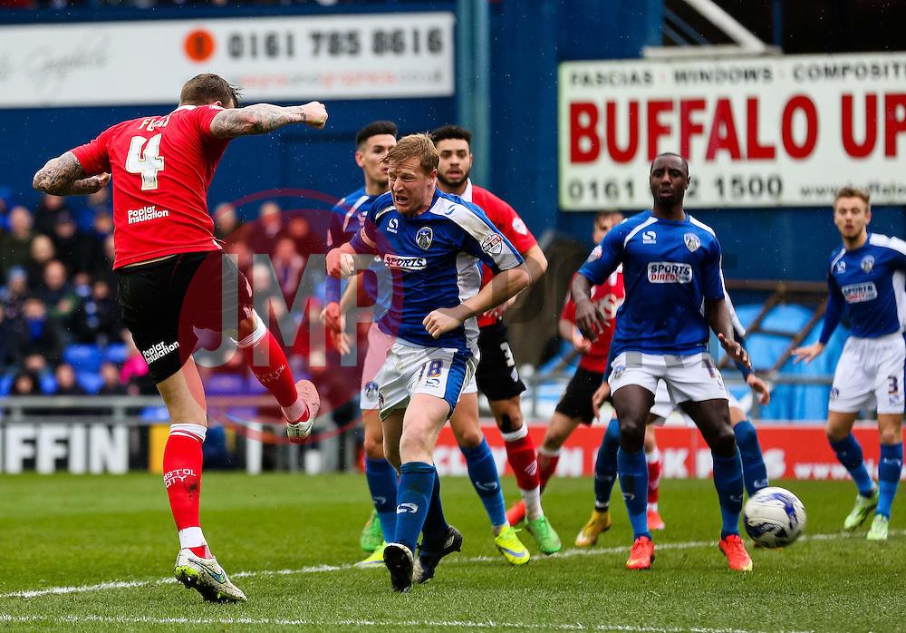 Bristol City's Aden Flint fires a header towards goal  - Photo mandatory by-line: Matt McNulty/JMP - Mobile: 07966 386802 - 03/04/2015 - SPORT - Football - Oldham - Boundary Park - Oldham Athletic v Bristol City - Sky Bet League One