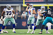 ARLINGTON, TX - OCTOBER 14:  Dak Prescott #4 of the Dallas Cowboys throws a pass in the first half of a game against the Jacksonville Jaguars at AT&T Stadium on October 14, 2018 in Arlington, Texas.  The Cowboys defeated the Jaguars 40-7.  (Photo by Wesley Hitt/Getty Images) *** Local Caption *** Dak Prescott